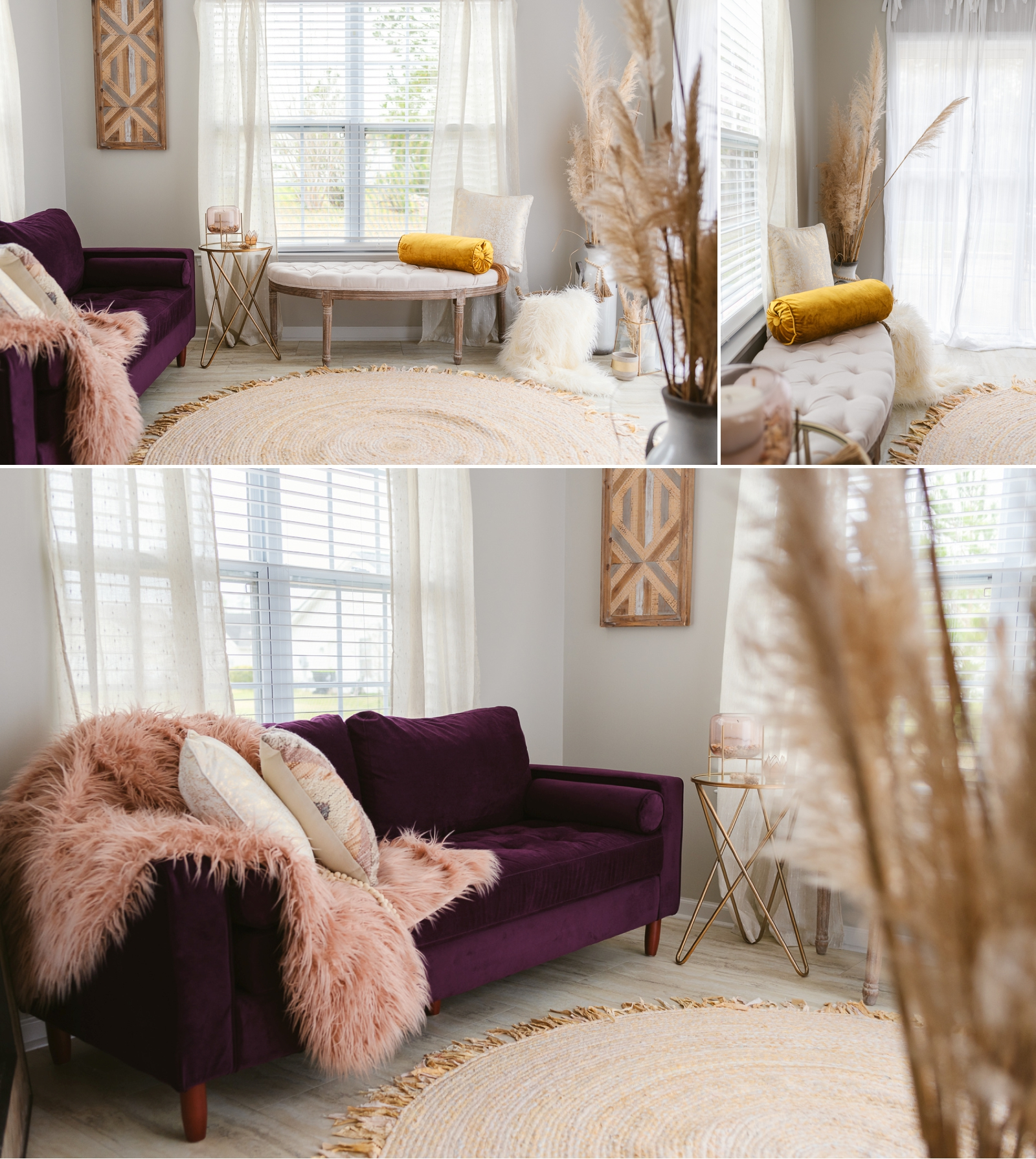 boudoir photography studio showcase gold metal pin leg table with pink and gold candle holder wood wall art rustic cream bench and purple couch pink fur