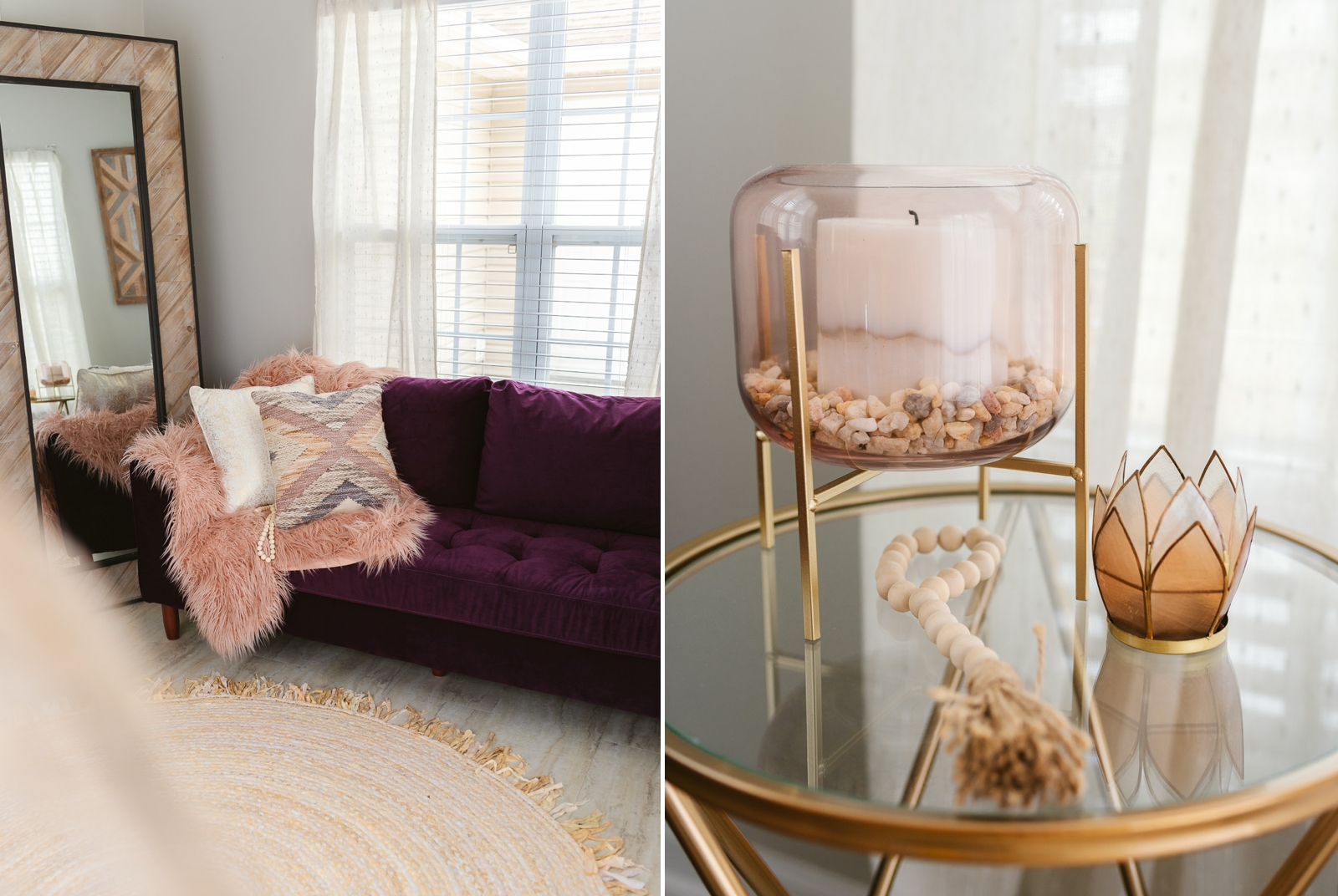 boudoir photography studio with pink and gold candle holder purple couch pink fur rustic mirror